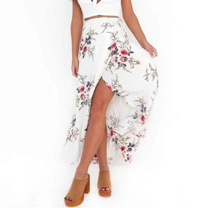 Dresses & Skirts - White Boho Floral Tie Waist Maxi Skirt